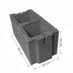 بلوک سیمانی توخالی ته پر-سایز ۲۰x20x38